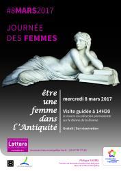 """8 mars 2017, à 14h30, visite guidée inédite """"Être une femme dans l'Antiquité"""" au Site archéologique Lattara-musée Henri Prades de Lattes"""
