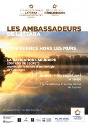 """Samedi 1er décembre 2018 à 16h30  > Conférence Hors les Murs """"La navigation lagunaire. 2000 ans de secrets révélés par le musée d'archéologie de Catalogne"""" par Diane Dusseaux"""