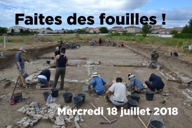 Mercredi 18 juillet 2018, Faites des fouilles ! au site archéologique Lattara-musée Henri Prades à Lattes