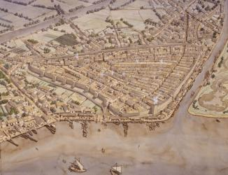 Restitution de la cité antique de Lattara, aquarelle réalisée par Jean-Claude Golvin pour le site archéologique Lattara-Musée Henri Prades